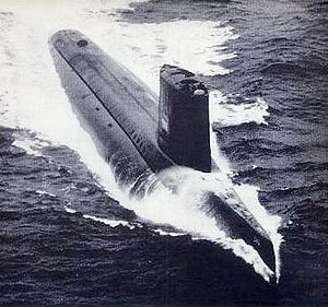 USS Triton (SSRN/SSN-586), a United States Navy nuclear-powered radar picket submarine, was the first vessel to execute a submerged circumnavigation of the Earth (Operation Sandblast), doing so in early 1960.
