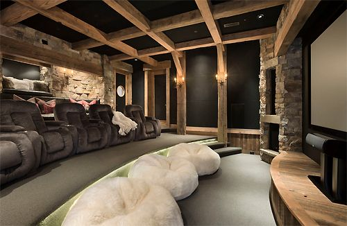 Cozy and luxurious rustic #mancave #hometheater