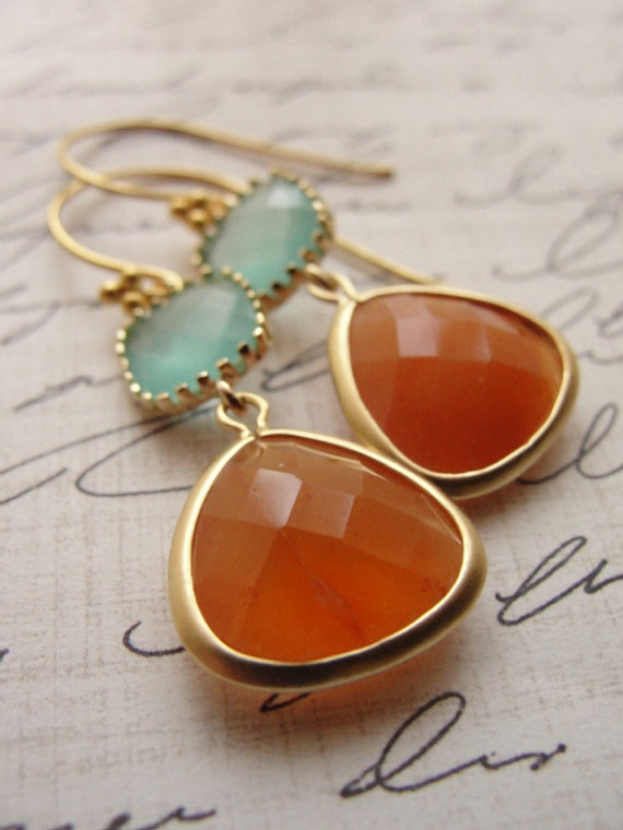 Orange and pale blue gold earrings