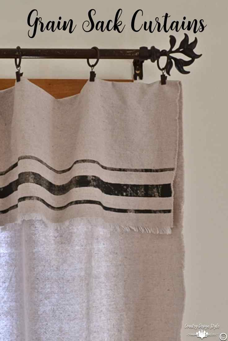 How to make grain sack curtains from drop cloth and NO SEW! | Country Design Style | countrydesignstyle.com