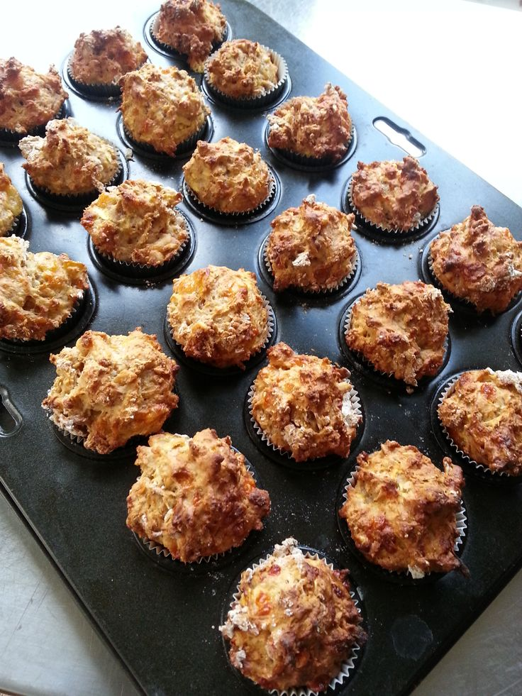 Bite-sized savoury Ploughman's Muffins with apple and Cheddar!