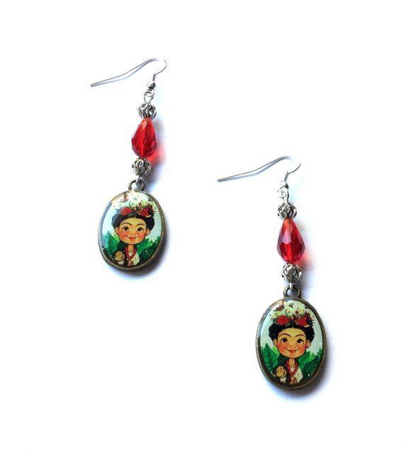 Frida Kahlo earrings red crystal