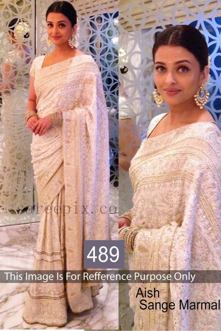 Aishwarya Rai Off White Georgette Latest Bollywood Saree                                                                                                                                                                                 More
