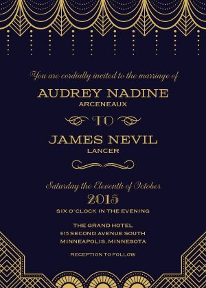 "Great Gatsby Wedding Theme - Old Hollywood - Black & Gold Wedding Invitation - ""Vintage Glamour"" - 1920s - Designed by Lauren DiColli Hooke"