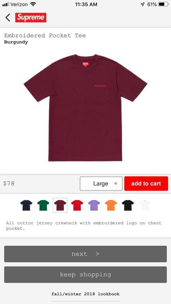 a6e6343b Supreme Embroidered Pocket Tee Large- FW/18 (Order Confirmed) #fashion  #clothing #shoes #accessories #mensclothing #shirts (ebay link)