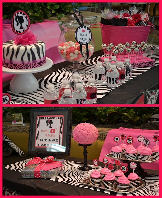 pink & zebra party theme. OMG!! Look on the sign it says Kyla! I miss her so much! That theme is so her!!
