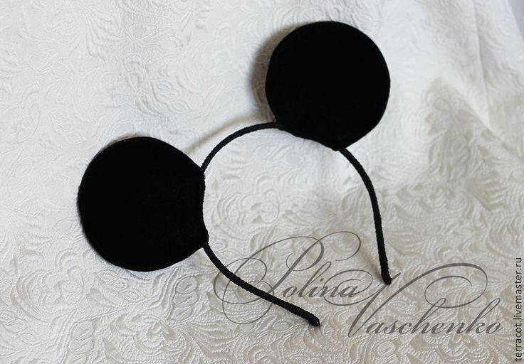 Купить Бархатные ушки Микки-Мауса - чёрный, ушки, уши микки, Микки Маус