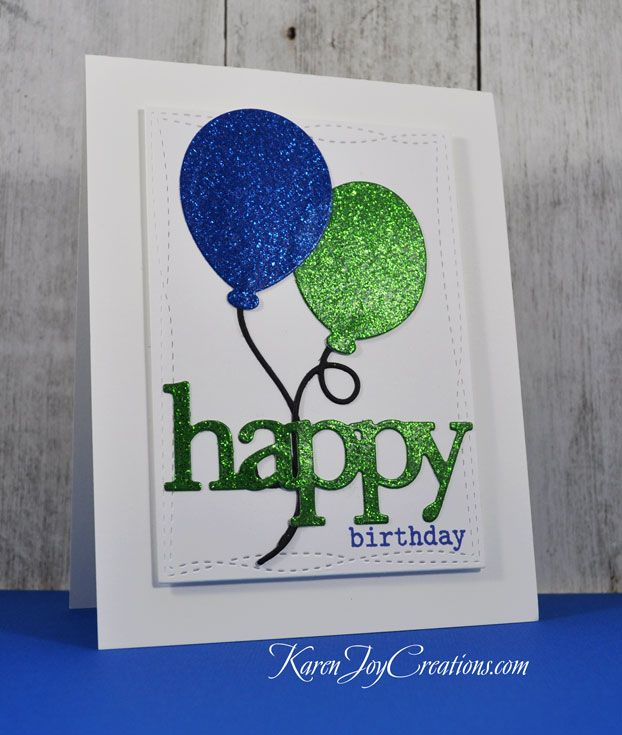 Party Balloons Masculine Birthday Card II by KareBear51 - at Splitcoaststampers