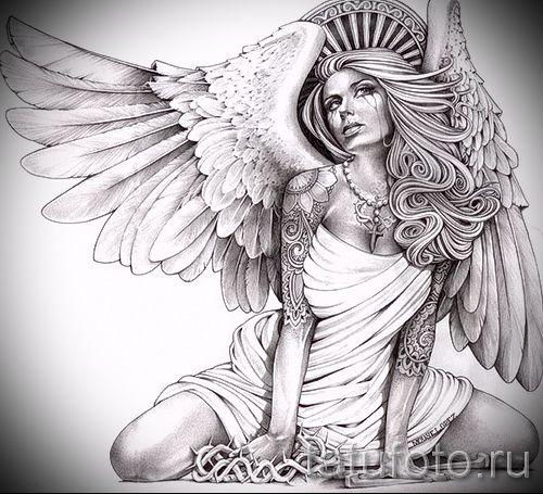 Сексуальные рисованные девушки-ангелы сзади