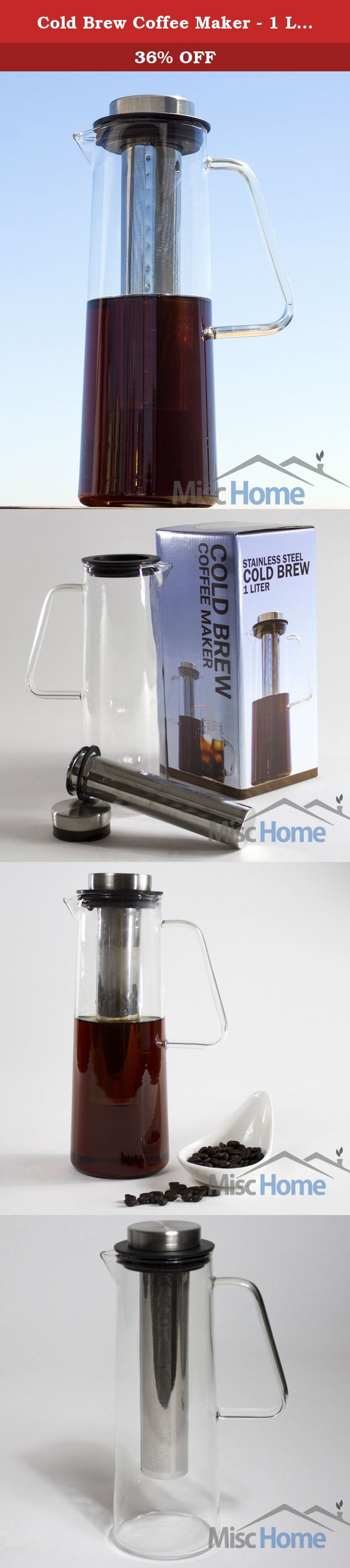 Cold Brew Coffee Maker - 1 Liter Iced Coffee Maker -Borosilicate Cold Brew Pitcher with Removable Laser Cut Stainless Steel Cold Brew Coffee Filter. MiscHome is Proud to Present Our Cold Brew Coffee Maker/Serving Pitcher We Now Have an Excellent Cold Brew Kit for Home! Cold brew coffee is becoming a quick favorite amongst coffee drinkers. Cold brew takes more time to make, but rewards patience with a smoother, sweeter, less acidic coffee than your traditionally brewed hot or iced coffees....
