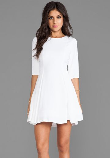 Alice Olivia Zoisa 3 4 Sleeve Pleated Flare Dress In