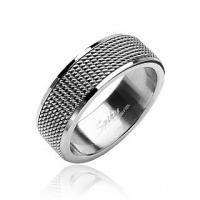 Мужское кольцо с фактурой кольчуги R8004