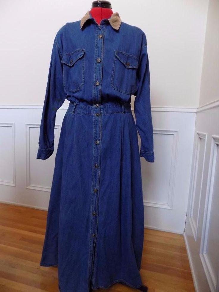 Vintage Denim Shirt Dress Pockets Button Front Studio Wear Size XL Elastic Waist    eBay