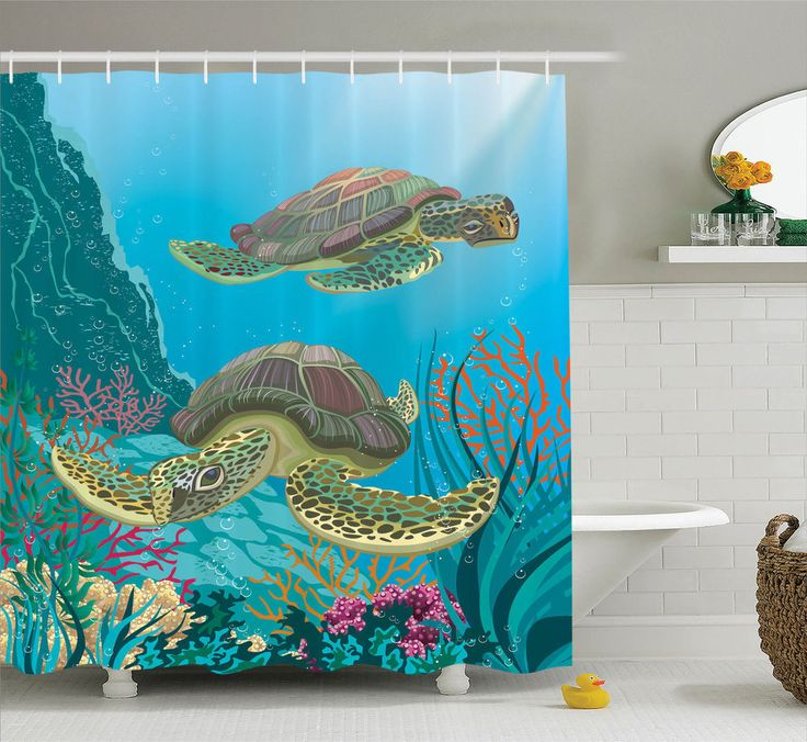 Illustration of Sea Turtles Swimming Underwater Reef Coral Shower Curtain Set #Ambesonne