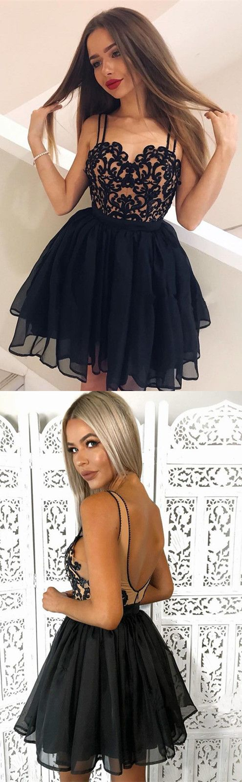 Chic Black Lace Embroidery Tulle Open Back Prom Short Dresses 2018 Semi Formal Dresses For Homecoming Party