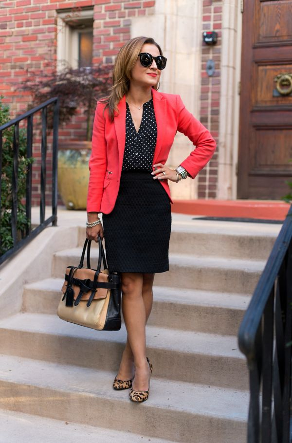 Work Outfit: Coral and Black Dots