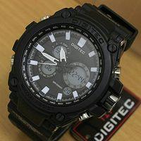 jam tangan pria Digitec DG 2069T list hitam putih Original 100%