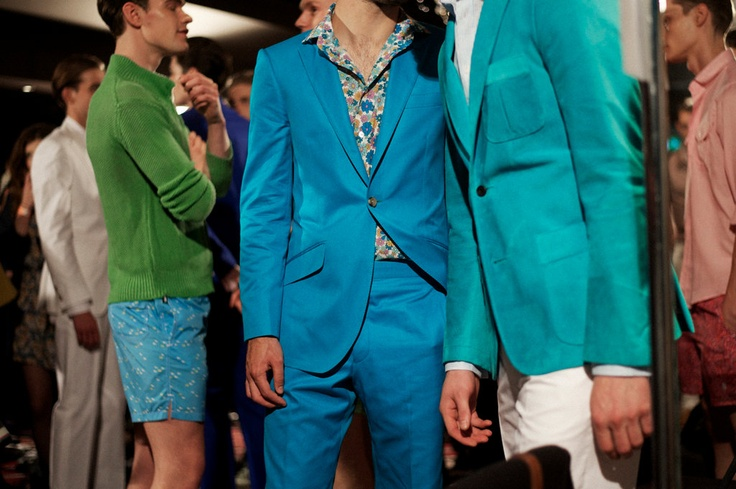 Richard James Spring/Summer 2013...sizzling colorful suits & shorts socializing backstage pre-runway. Love it.