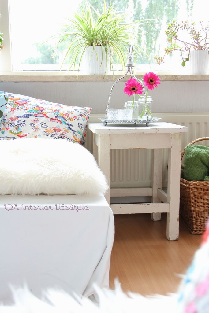 Stool Bedside Table: A Painted Stool Instead Of Bedside Table