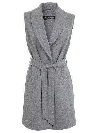 Grey Belted Sleeveless Coat