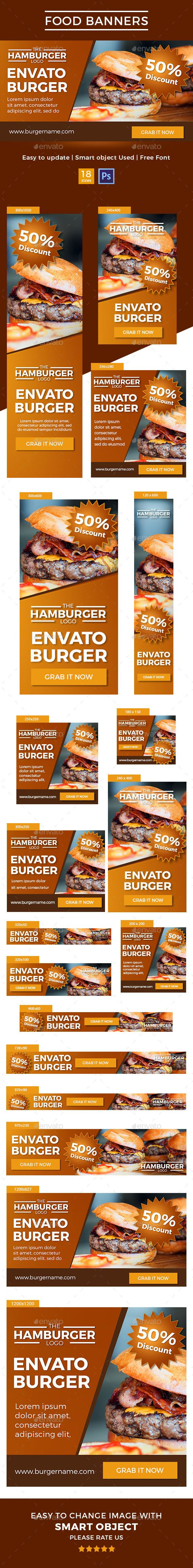 Food Banners — Photoshop PSD #adwords #banners • Available here → https://graphicriver.net/item/food-banners/14555504?ref=pxcr