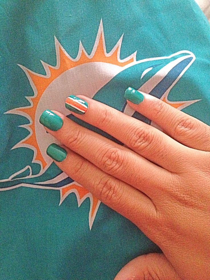 Miami Dolphins inspired nails