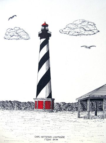 LighthouseFrederic Koh, Capes Hatteras, Hatteras Lighthouses, Lighthouses Tattoo, Cape Hatteras, Lighthouses Drawing, Tattoo Drawing, Lighthouses Stripes, Permanent Art