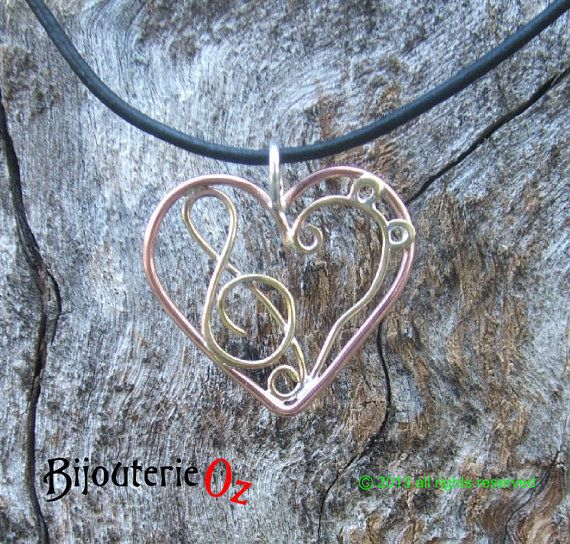 Music Lovers Heart Pendant with Treble and Bass Clefs.  Copper, Brass & Sterling Silver.