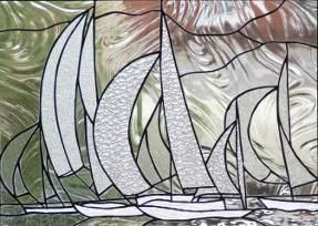 Stained Glass window hanging, sailboats, Regatta, Eleanor Brownridge, glass artist, TurtleCreek Art Glass