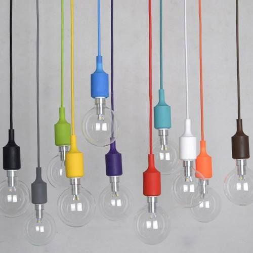 Luminária Silicone Teto Pendente Cores Colorido 100cm E27