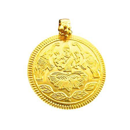 JPearls Gold Laxmi Pendant, 2 Grams Gold Lakshmi Locket