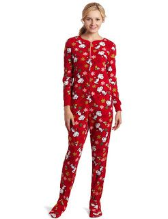 Red footie pajama for women