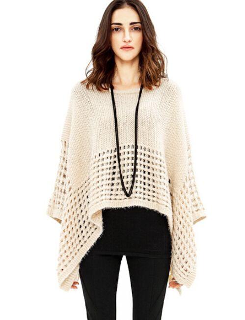 Women's Beige Loose Sweater -http://www.vudress.com/
