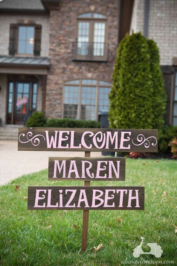 Welcome Baby Sign, Baby Name Signs, personalized, Shabby Chic Baby Shower Sign, Welcome Baby Boy or Welcome Baby Girl Sign
