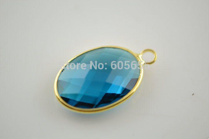 Однопетлевую граненные из синего стекла овальной формы шарм подвески ювелирные изделия разъемы 20 шт. за лот