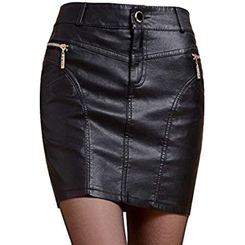 Helan femmes faux cuir jupe Avec des boutons et fermeture Noir