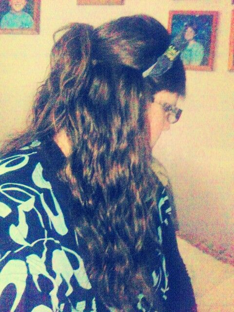 Half Up scrunched hairstyle with a cute bow :-)