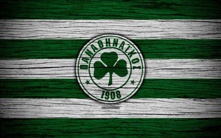 Download wallpapers Panathinaikos FC, 4k, wooden texture, Greek Super League, soccer, football club, Greece, Panathinaikos, logo, FC Panathinaikos