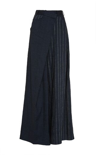 This **Adeam** low rise trouser features a stripe combo design with an asymmetrical waist detail.
