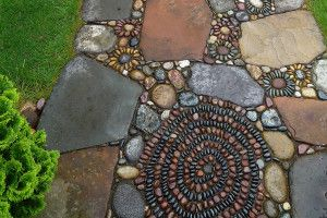 Jeffrey Bale began traveling the world, finding inspiration in the stunning architecture of Europe and SE Asia. He returned home and began creating elaborate and intricate pebble mosaics from stone he gathers in the wild. Today his work is world renowned.