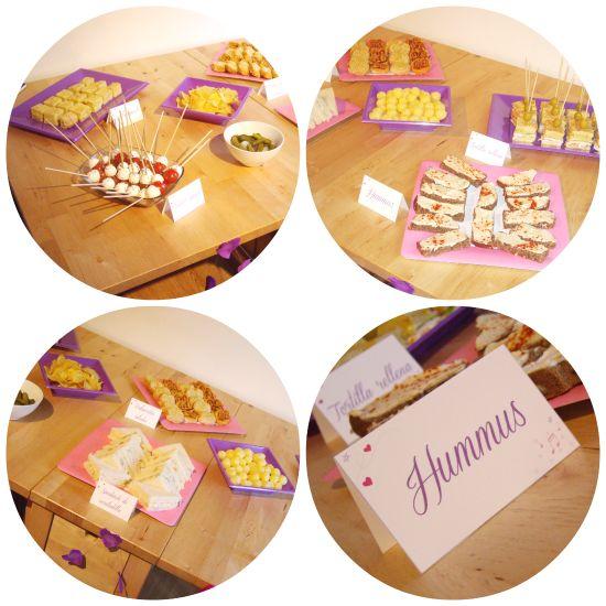 Etiquetas para la comida para la celebracion del cumpleaños de Daniela