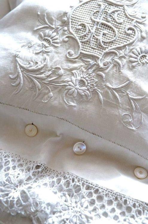 White Embroidery on White Linen