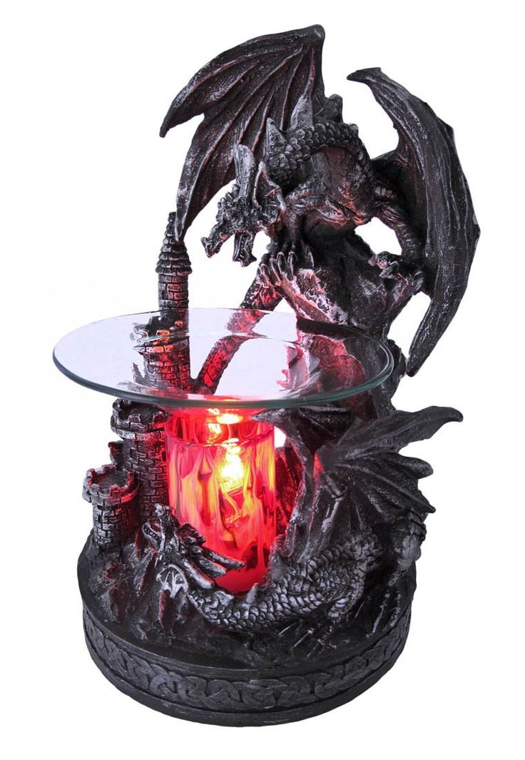 Dual dragons and castle electric oil warmer castles candles and oil warmer - Dragon oil warmer ...