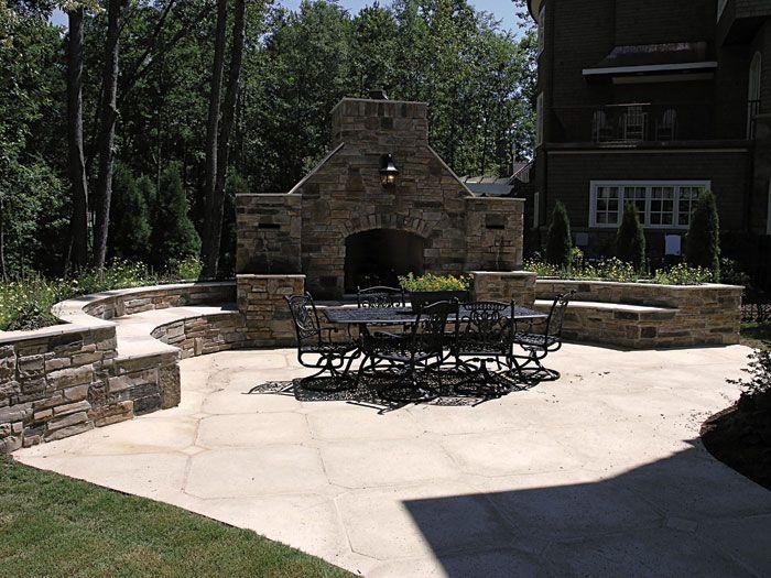 Delightful Outdoor Stone Fireplace U0026 Seating Area   #129S 0008    Houseplansandmore.com