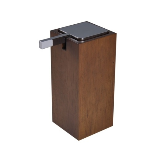 Soap Dispenser, Gedy PA80, Square White or Brown Tall Soap Dispenser in Wood PA80
