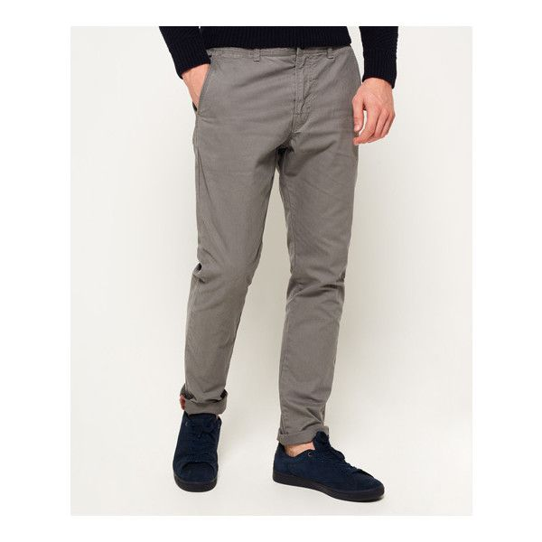 Superdry Rookie Chino Trousers (3.225 RUB) ❤ liked on Polyvore featuring men's fashion, men's clothing, men's pants, men's casual pants, grey, mens pants, men's five pocket pants, mens slim fit pants, mens slim pants and mens grey pants