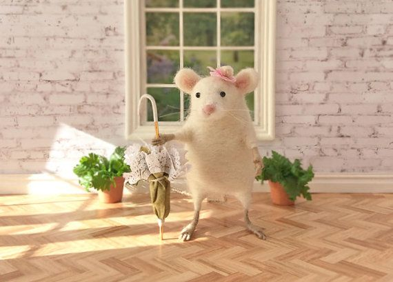 White Felted Mouse Soft Sculpture Animal by GentlySpokenFriend