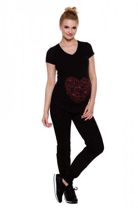 dceead69f Pantalón premamá largo. Tejido en color negro con banda ancha elástica en  la cintura.