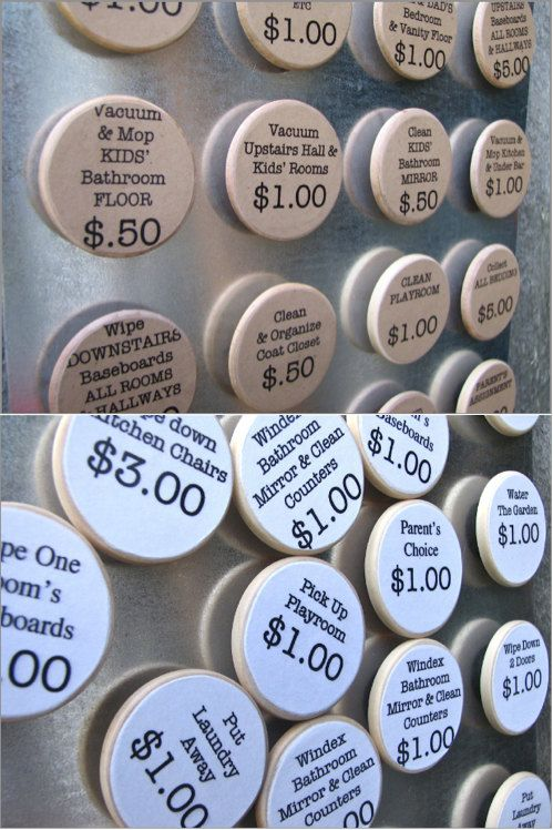 Chore Pins/Magnets- Kids choose the job and how much it's worth. At the end of the week, total amount is how much allowance they receive.