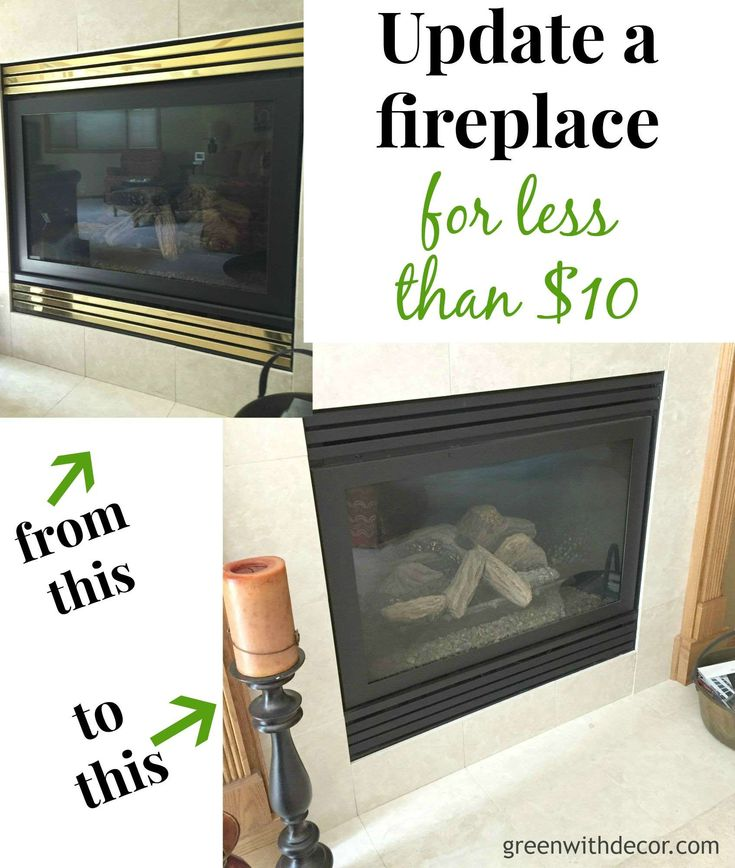 Update a fireplace for less than $10 with some spray paint. We used Rust-Oleum's flat black.